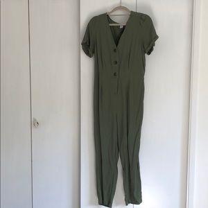 Short sleeve button down jumpsuit